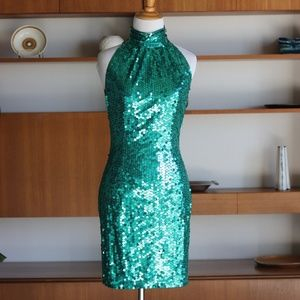 Vintage 90's Green Sequin Showgirl Party Dress 6